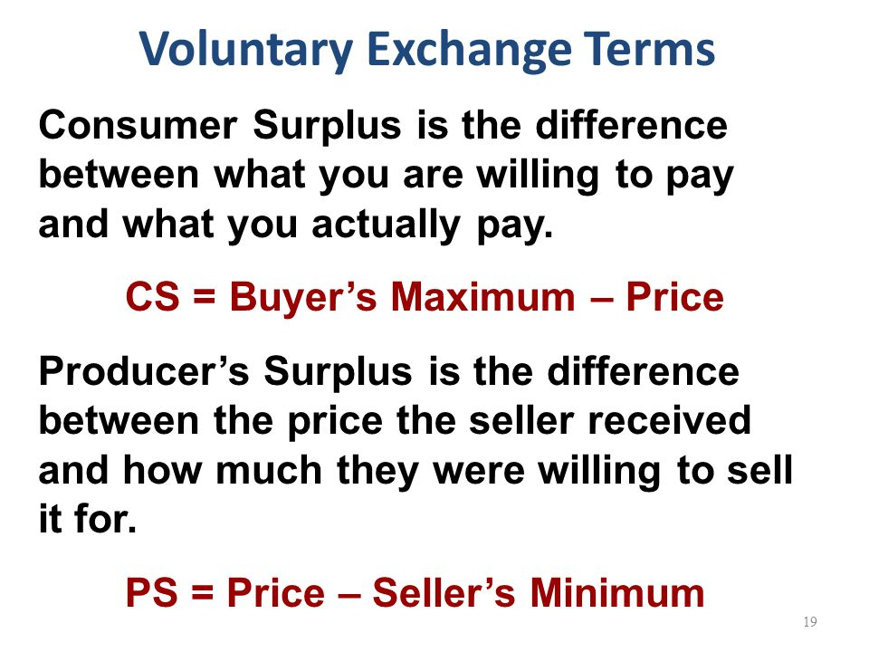Consumer Surplus is the difference between what you are willing to pay and what you actually pay.