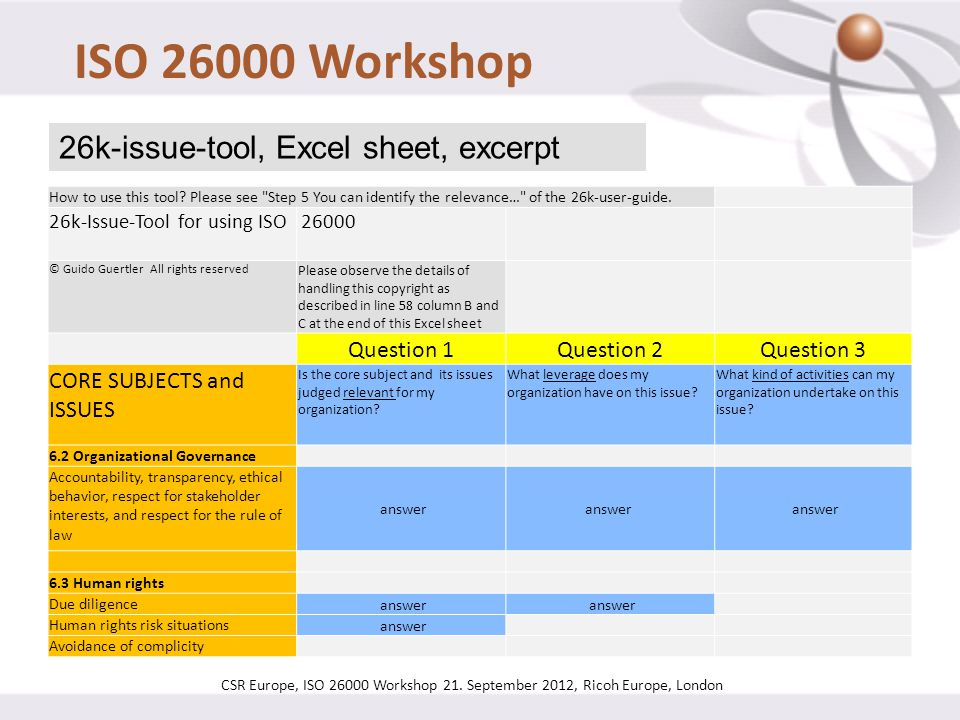 ISO 26000 Workshop CSR Europe, ISO 26000 Workshop 21. September 2012, Ricoh Europe, London 26k-issue-tool, Excel sheet, excerpt How to use this tool?