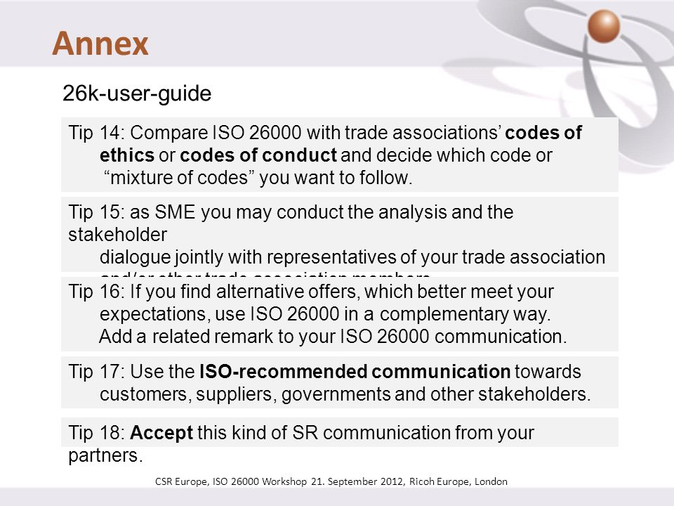 CSR Europe, ISO 26000 Workshop 21. September 2012, Ricoh Europe, London 26k-user-guide Tip 14: Compare ISO 26000 with trade associations' codes of eth