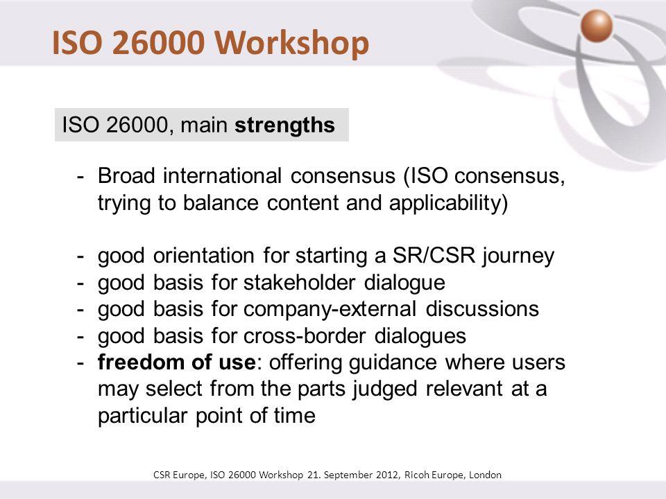CSR Europe, ISO 26000 Workshop 21.