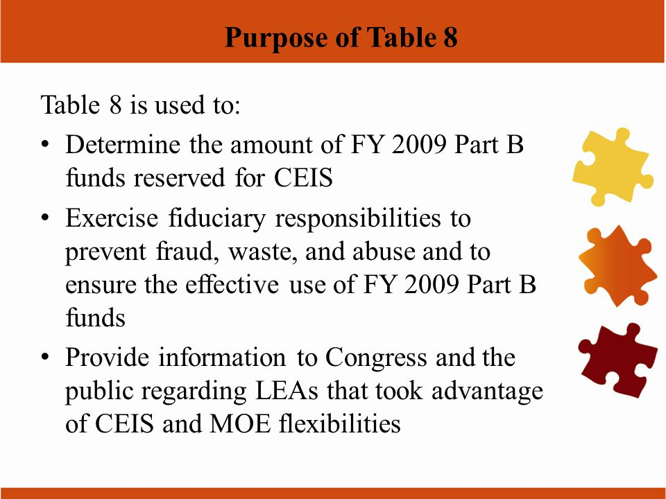 Purpose of Table 8 Table 8 is used to: Determine the amount of FY 2009 Part B funds reserved for CEIS Exercise fiduciary responsibilities to prevent f