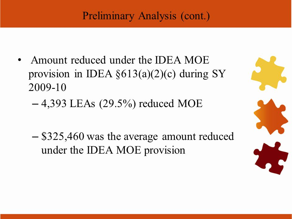 Preliminary Analysis (cont.) Amount reduced under the IDEA MOE provision in IDEA §613(a)(2)(c) during SY 2009-10 – 4,393 LEAs (29.5%) reduced MOE – $3