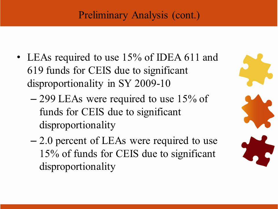 Preliminary Analysis (cont.) LEAs required to use 15% of IDEA 611 and 619 funds for CEIS due to significant disproportionality in SY 2009-10 – 299 LEA