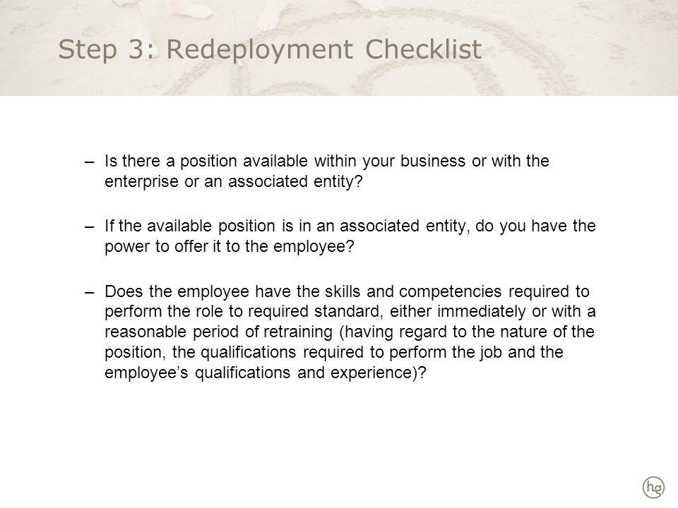 Step 3: Redeployment Checklist continued...