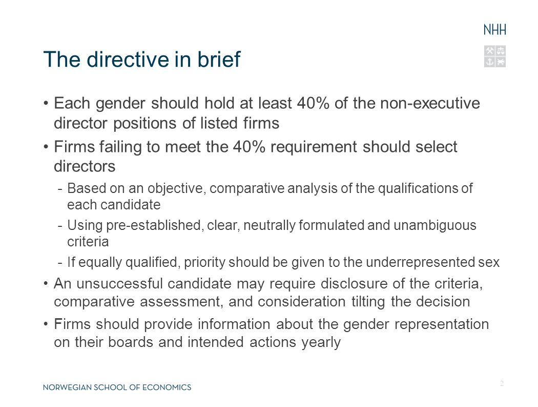 The directive in brief Each gender should hold at least 40% of the non-executive director positions of listed firms Firms failing to meet the 40% requ