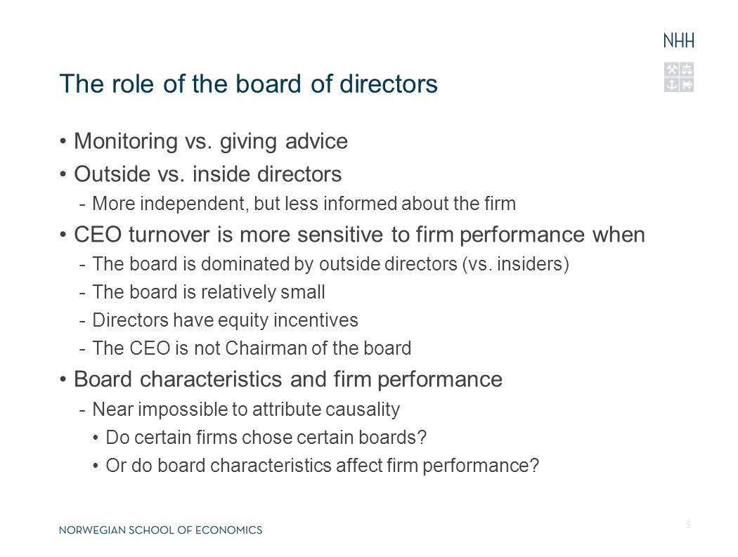 The role of the board of directors Monitoring vs. giving advice Outside vs.
