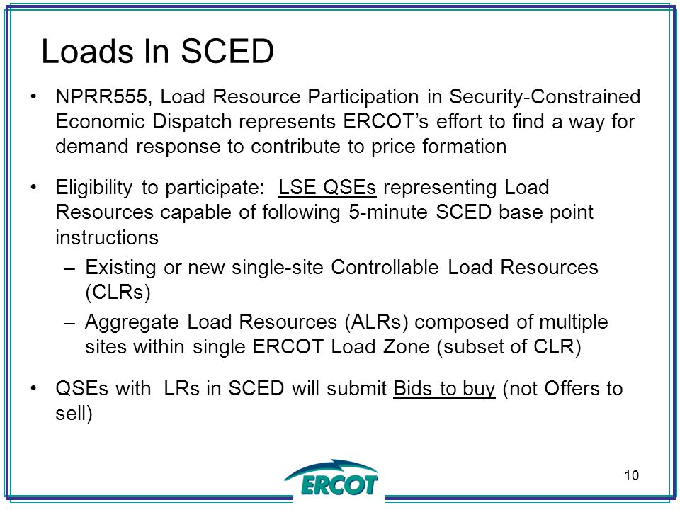 NPRR555, Load Resource Participation in Security-Constrained Economic Dispatch represents ERCOT's effort to find a way for demand response to contribu