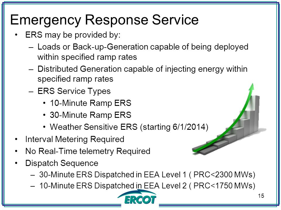 Emergency Response Service ERS may be provided by: –Loads or Back-up-Generation capable of being deployed within specified ramp rates –Distributed Gen