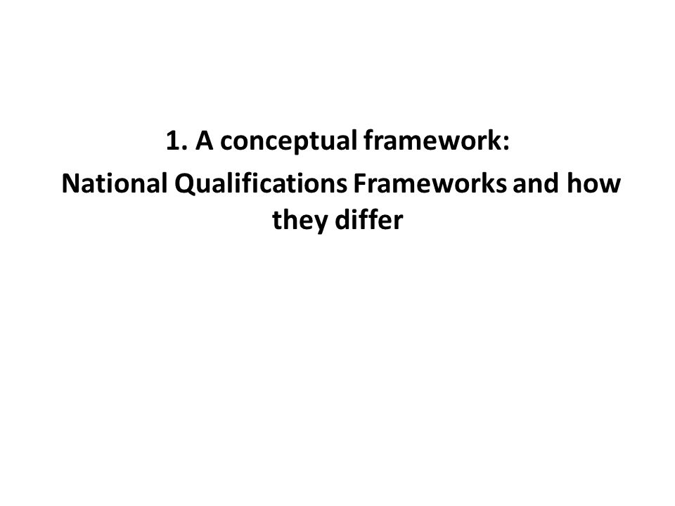 1. A conceptual framework: National Qualifications Frameworks and how they differ
