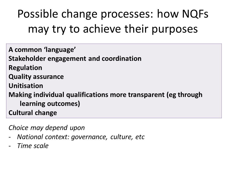 Possible change processes: how NQFs may try to achieve their purposes Choice may depend upon -National context: governance, culture, etc -Time scale A common 'language' Stakeholder engagement and coordination Regulation Quality assurance Unitisation Making individual qualifications more transparent (eg through learning outcomes) Cultural change