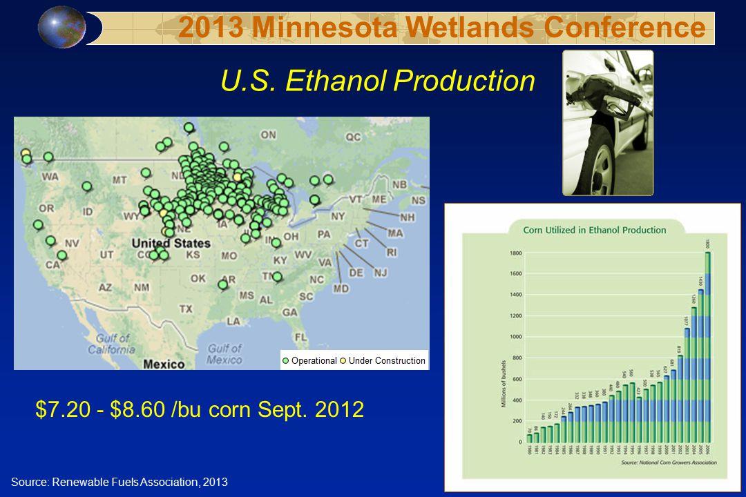 U.S. Ethanol Production Source: Renewable Fuels Association, 2013 $7.20 - $8.60 /bu corn Sept.