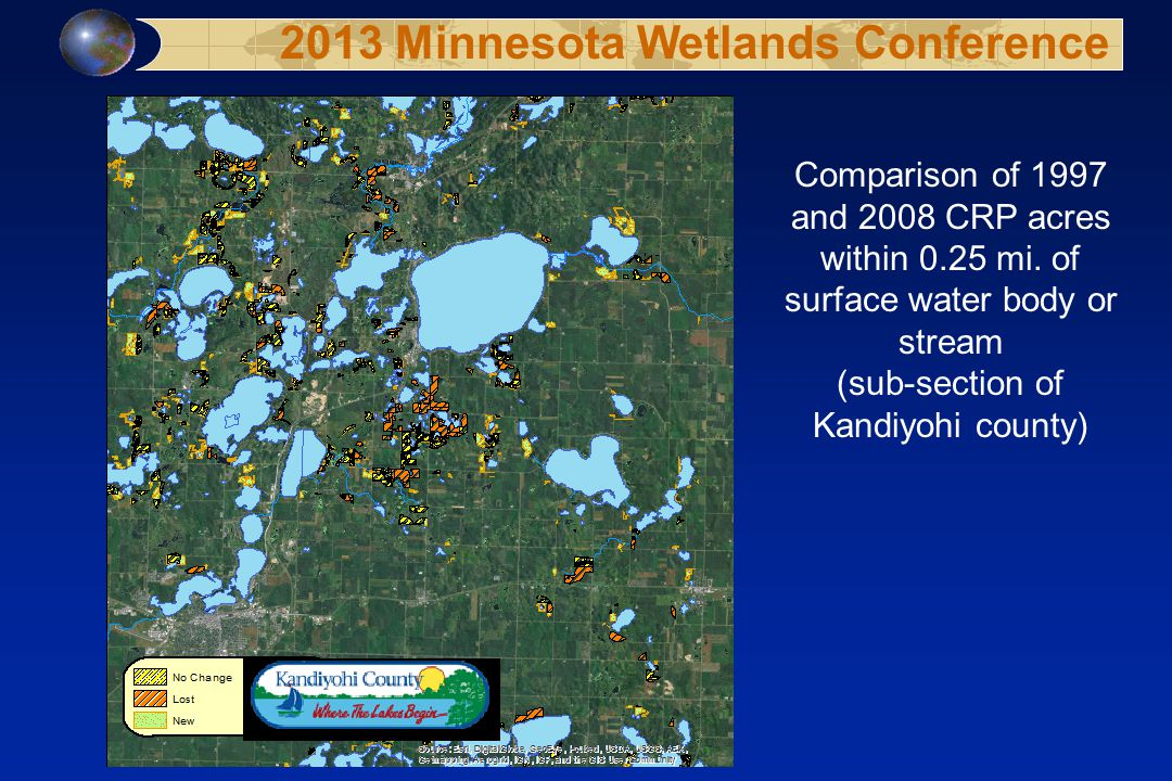 Comparison of 1997 and 2008 CRP acres within 0.25 mi.