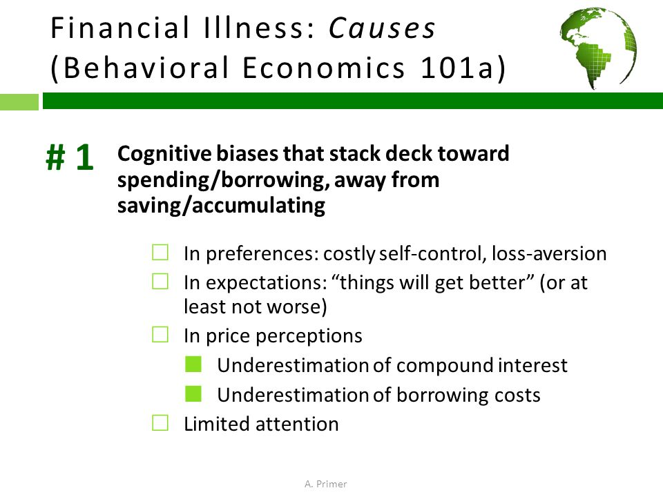 Financial Illness: Causes (Behavioral Economics 101a) Cognitive biases that stack deck toward spending/borrowing, away from saving/accumulating  In preferences: costly self-control, loss-aversion  In expectations: things will get better (or at least not worse)  In price perceptions Underestimation of compound interest Underestimation of borrowing costs  Limited attention # 1 A.