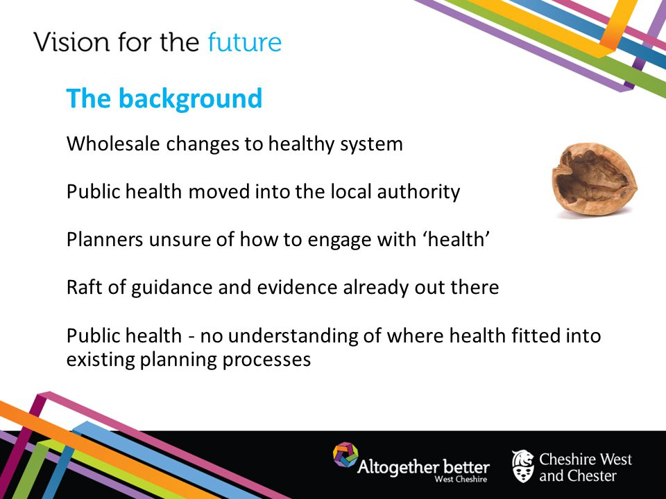 Wholesale changes to healthy system Public health moved into the local authority Planners unsure of how to engage with 'health' Raft of guidance and e