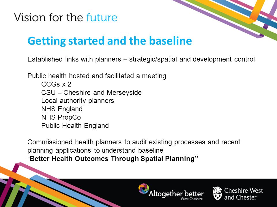 Established links with planners – strategic/spatial and development control Public health hosted and facilitated a meeting CCGs x 2 CSU – Cheshire and