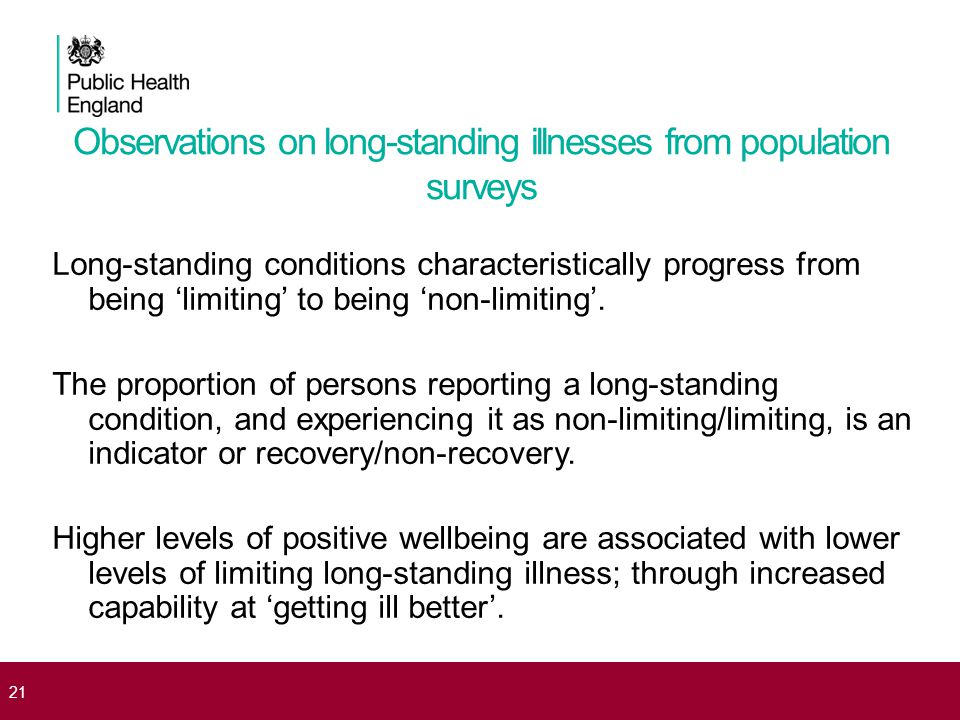 21 Observations on long-standing illnesses from population surveys Long-standing conditions characteristically progress from being 'limiting' to being