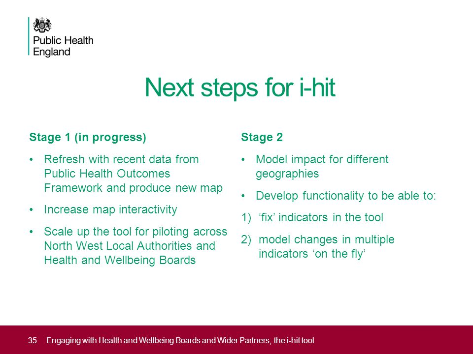 Next steps for i-hit Stage 1 (in progress) Refresh with recent data from Public Health Outcomes Framework and produce new map Increase map interactivi