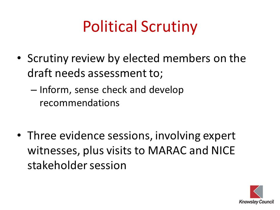 Political Scrutiny Scrutiny review by elected members on the draft needs assessment to; – Inform, sense check and develop recommendations Three eviden