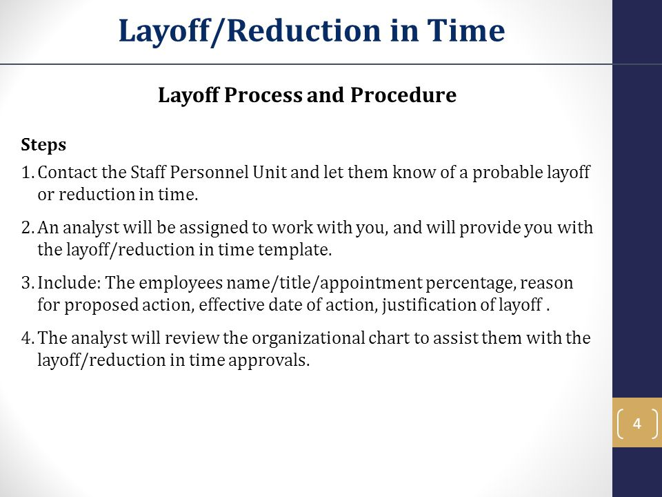 1. Layoffs, Reductions And Separation Objectives In This Training