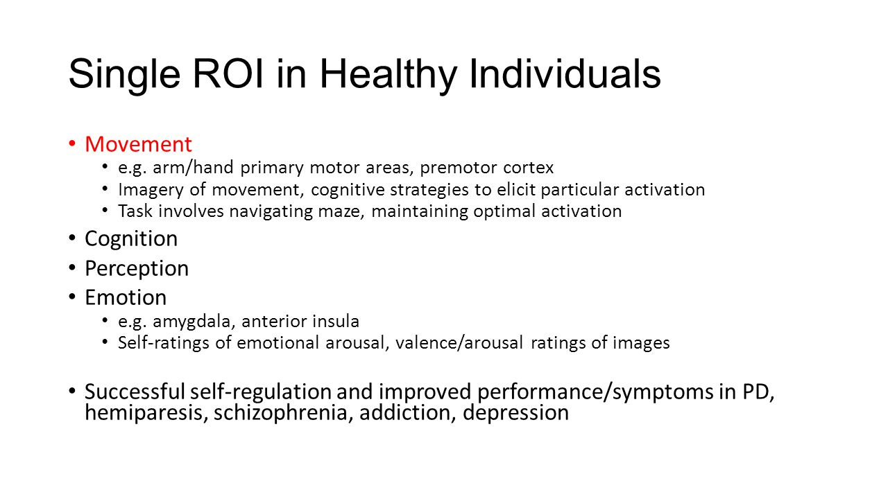 Single ROI in Healthy Individuals Movement e.g.