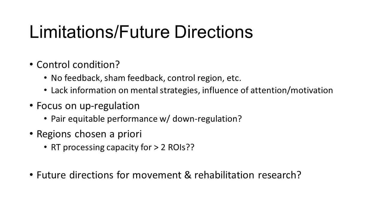 Limitations/Future Directions Control condition. No feedback, sham feedback, control region, etc.