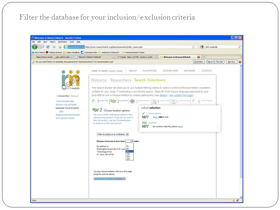 Filter the database for your inclusion/exclusion criteria