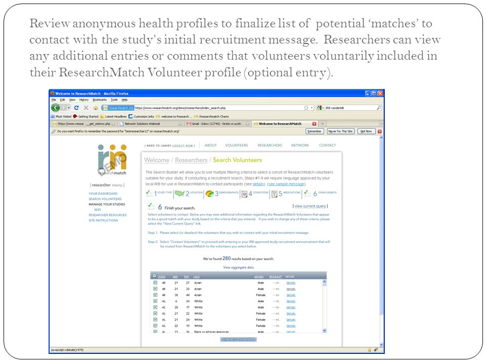 Review anonymous health profiles to finalize list of potential 'matches' to contact with the study's initial recruitment message. Researchers can view