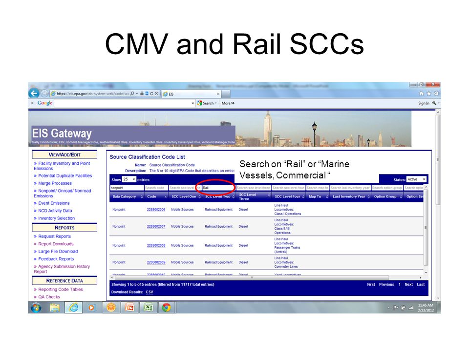 "CMV and Rail SCCs Search on ""Rail"" or ""Marine Vessels, Commercial """