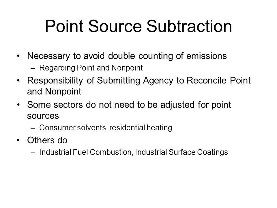 Point Source Subtraction Necessary to avoid double counting of emissions –Regarding Point and Nonpoint Responsibility of Submitting Agency to Reconcil