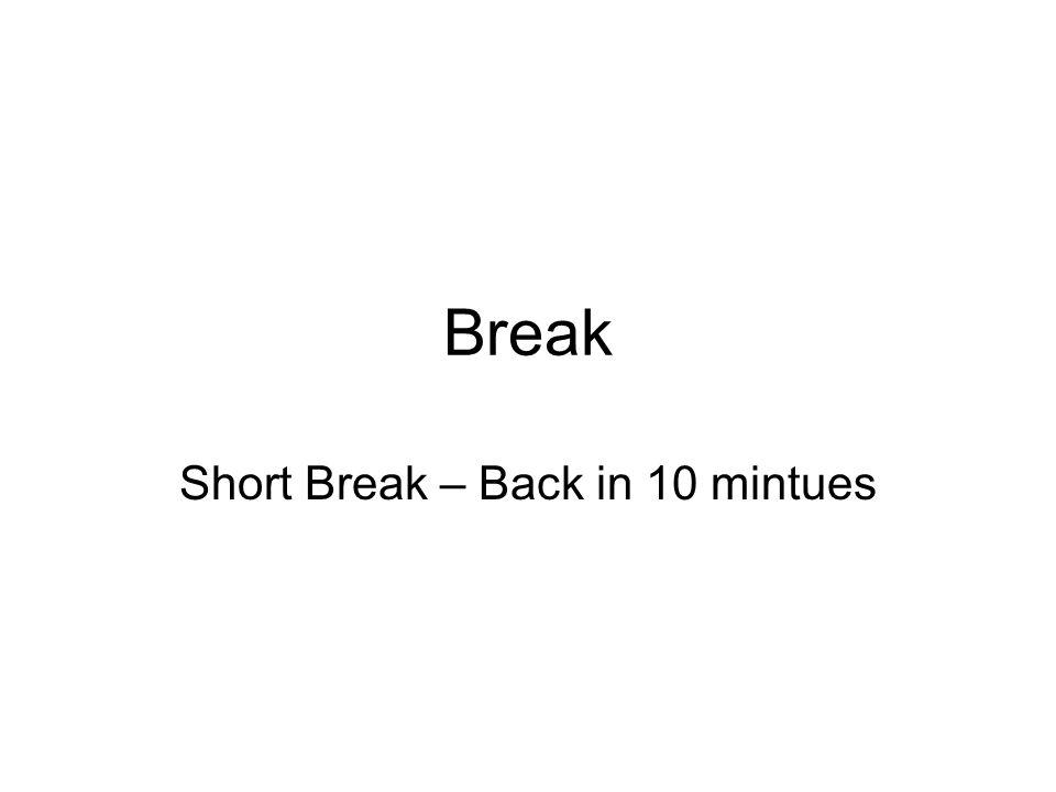 Break Short Break – Back in 10 mintues
