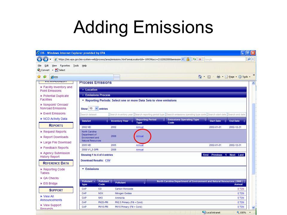 Adding Emissions