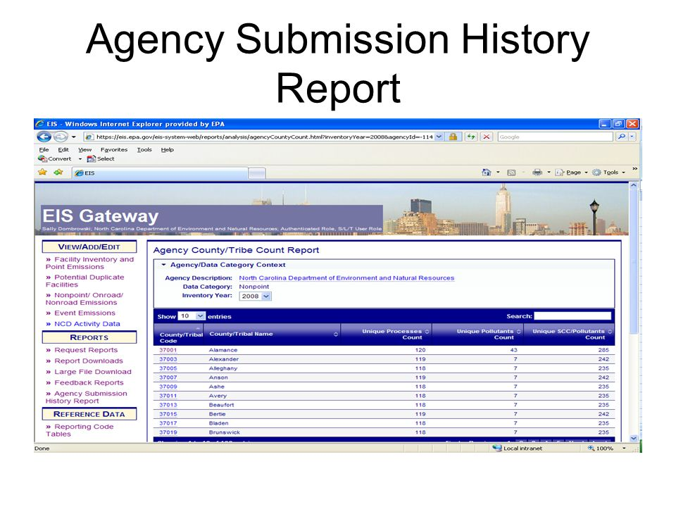 Agency Submission History Report