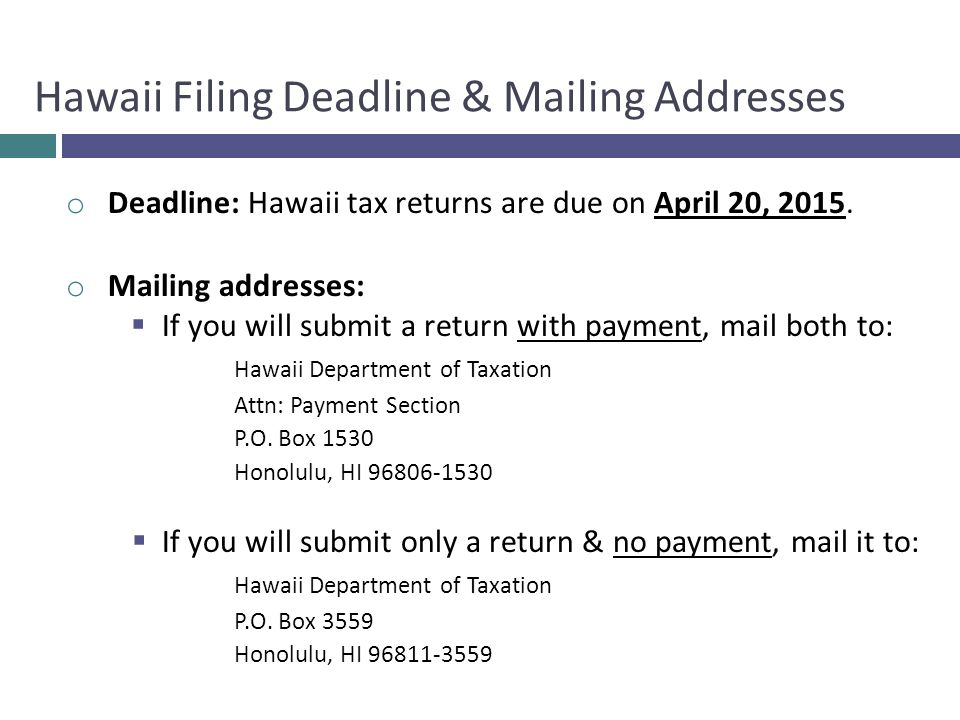 o Deadline: Hawaii tax returns are due on April 20, 2015.