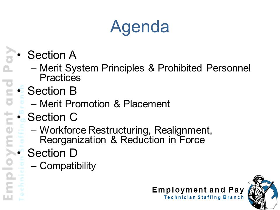 Employment and Pay Technician Staffing Branch Agenda Section A –Merit System Principles & Prohibited Personnel Practices Section B –Merit Promotion &