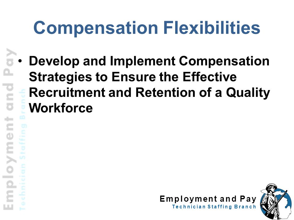 Employment and Pay Technician Staffing Branch Compensation Flexibilities Develop and Implement Compensation Strategies to Ensure the Effective Recruit