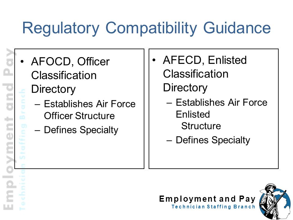 Employment and Pay Technician Staffing Branch Regulatory Compatibility Guidance AFOCD, Officer Classification Directory –Establishes Air Force Officer
