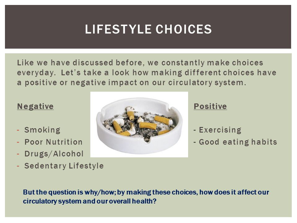 Like we have discussed before, we constantly make choices everyday. Let's take a look how making different choices have a positive or negative impact