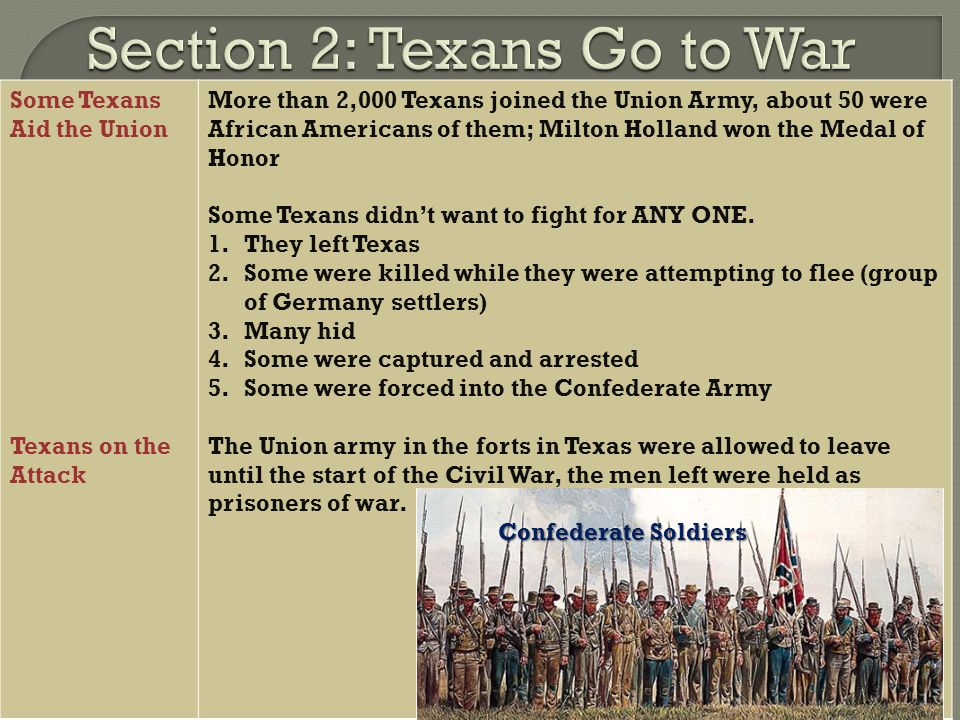 Some Texans Aid the Union Texans on the Attack More than 2,000 Texans joined the Union Army, about 50 were African Americans of them; Milton Holland w