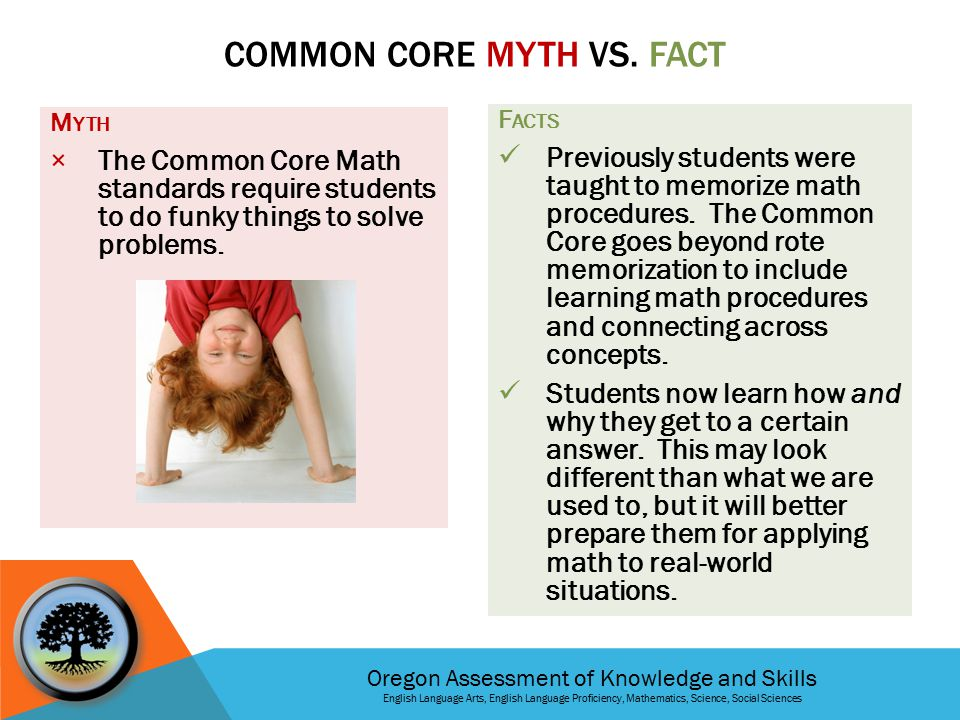 Oregon Assessment of Knowledge and Skills English Language Arts, English Language Proficiency, Mathematics, Science, Social Sciences M YTH × The Common Core Math standards require students to do funky things to solve problems.
