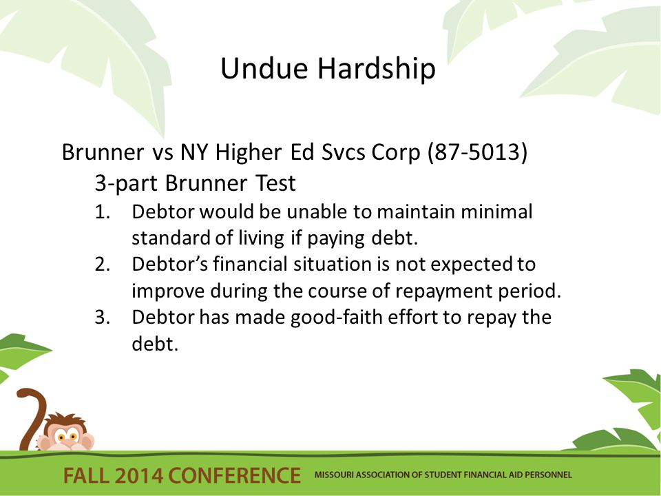 Undue Hardship Brunner vs NY Higher Ed Svcs Corp (87-5013) 3-part Brunner Test 1.Debtor would be unable to maintain minimal standard of living if paying debt.