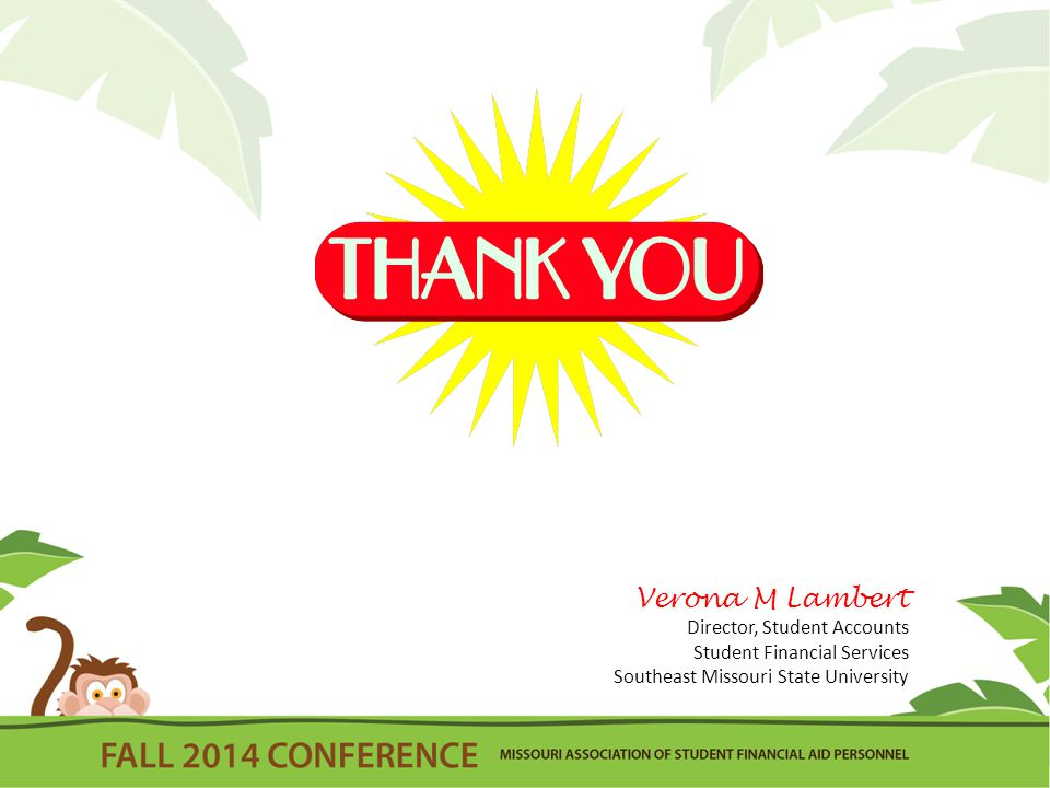 Verona M Lambert Director, Student Accounts Student Financial Services Southeast Missouri State University