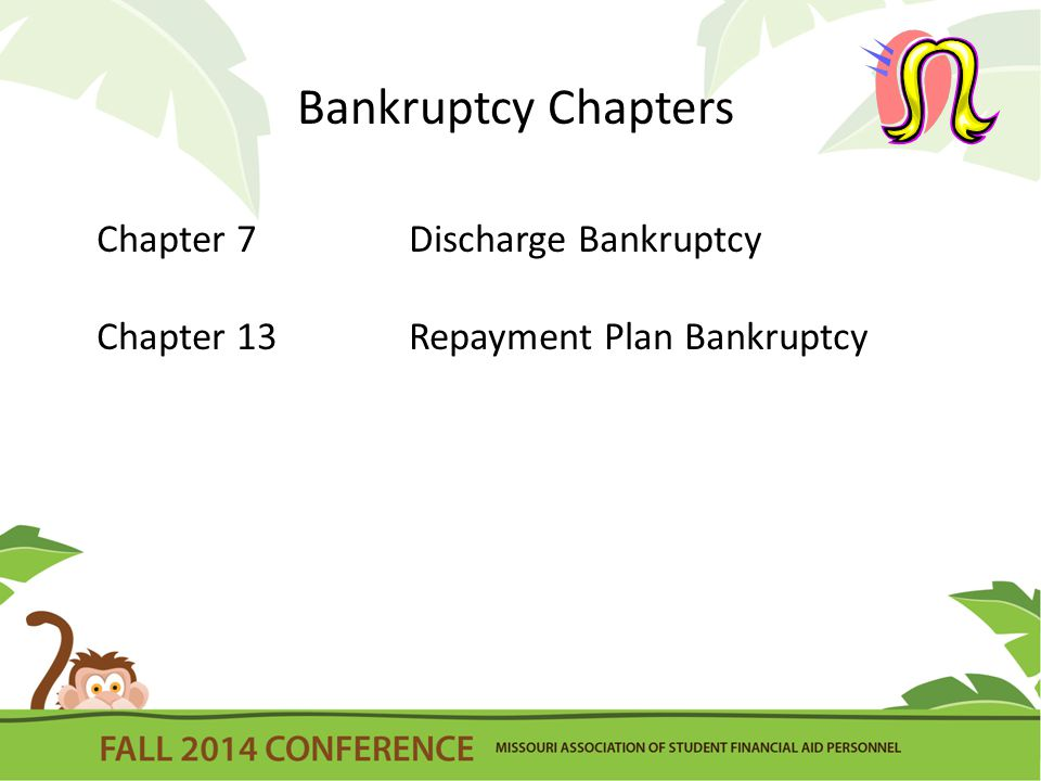 Bankruptcy Chapters Chapter 7Discharge Bankruptcy Chapter 13Repayment Plan Bankruptcy