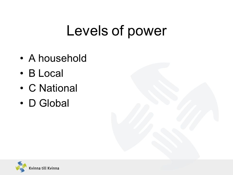 Levels of power A household B Local C National D Global