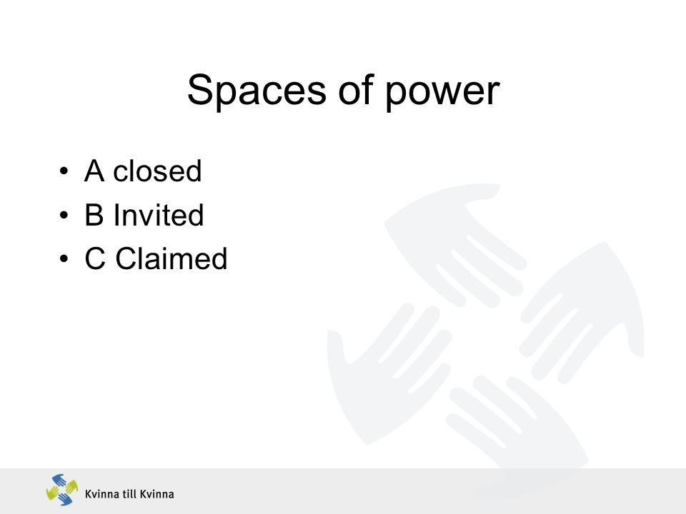 Spaces of power A closed B Invited C Claimed