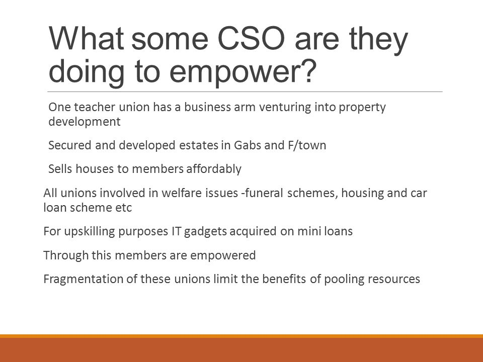 What some CSO are they doing to empower.