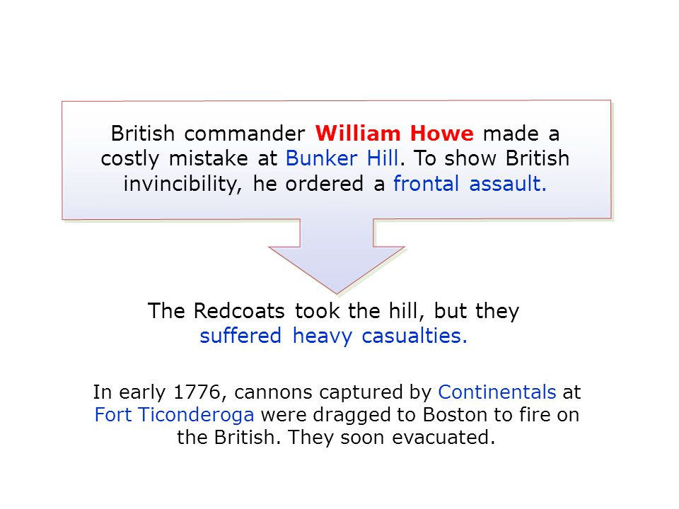 British commander William Howe made a costly mistake at Bunker Hill. To show British invincibility, he ordered a frontal assault. The Redcoats took th