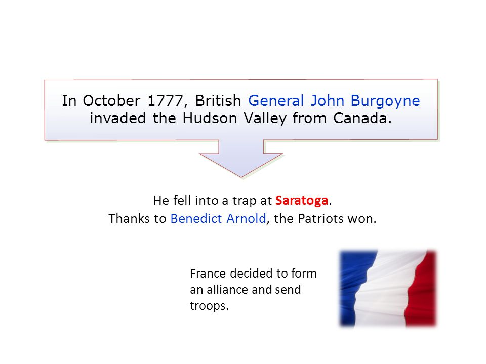 In October 1777, British General John Burgoyne invaded the Hudson Valley from Canada. France decided to form an alliance and send troops. He fell into
