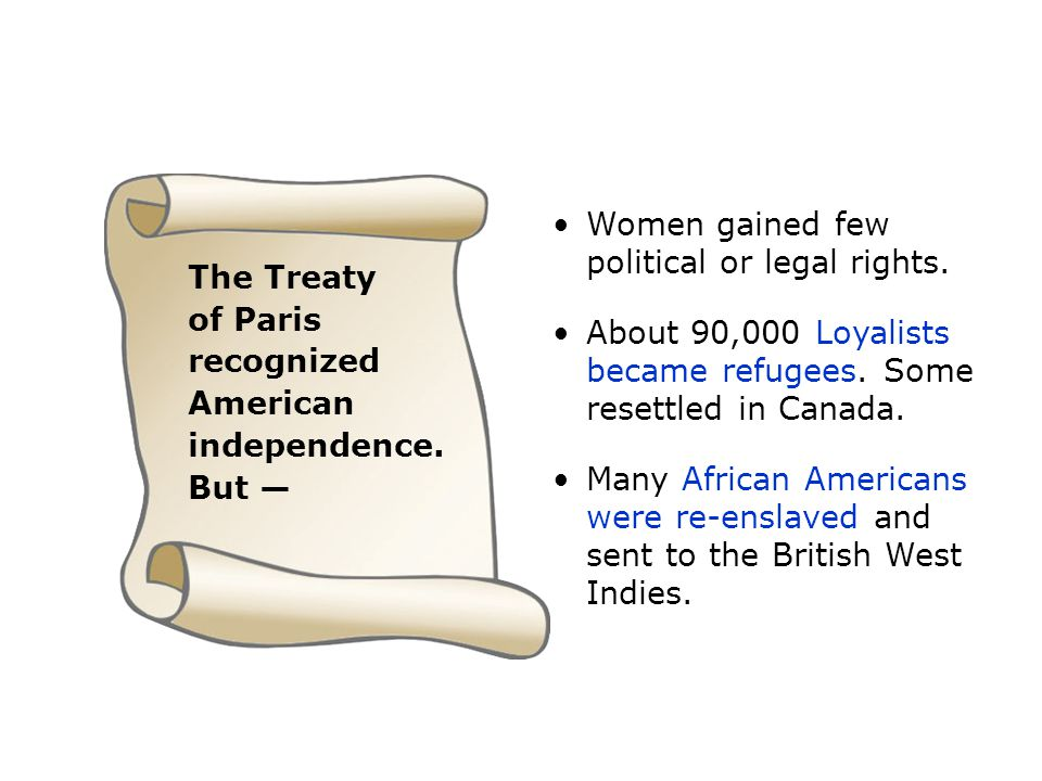 The Treaty of Paris recognized American independence. But — Women gained few political or legal rights. About 90,000 Loyalists became refugees. Some r