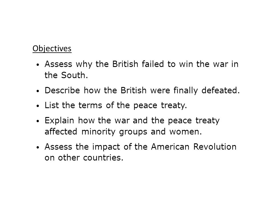 Assess why the British failed to win the war in the South.