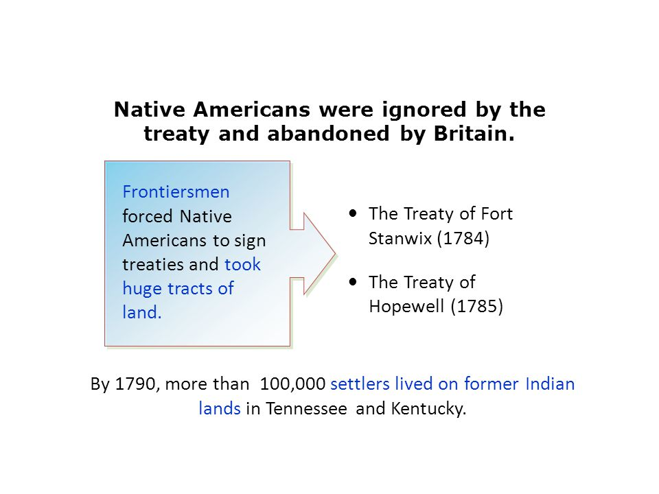Native Americans were ignored by the treaty and abandoned by Britain. The Treaty of Fort Stanwix (1784) The Treaty of Hopewell (1785) By 1790, more th